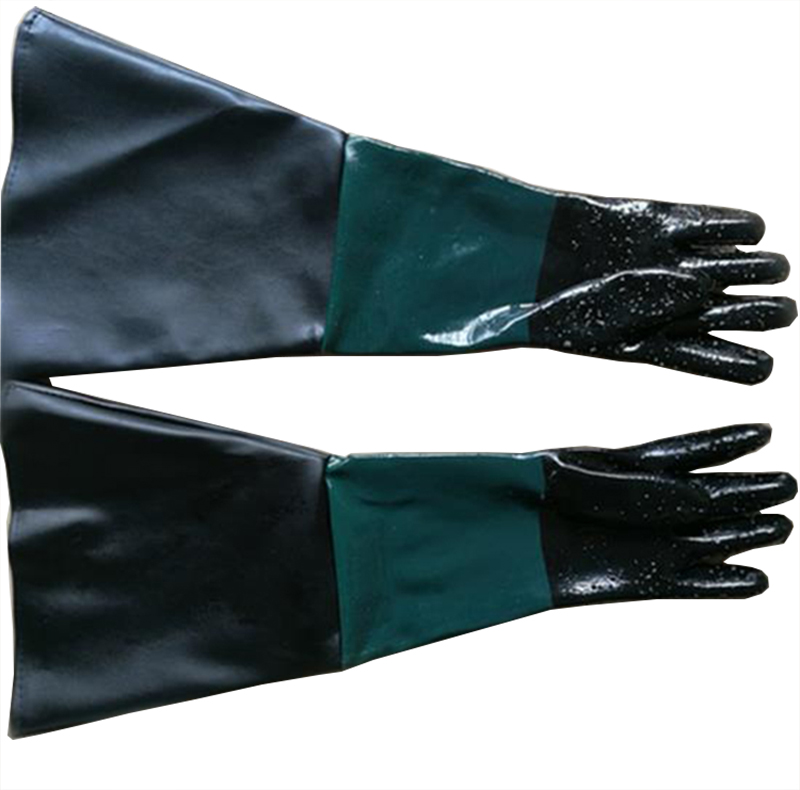 HOLDWIN Sandblasting  gloves green black rubber abrasive blasting gloves for sandblast cabinet