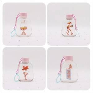 300ML Pink Cap Glass Bottle with Handle Rope
