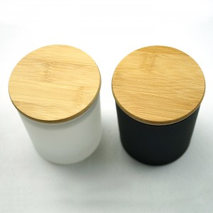 10oz frosted empty glass candle jar with bamboo lid
