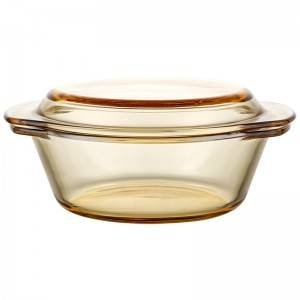 Amber clear glass salad, fruit, vegetable bowl