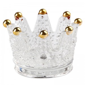 Home Wedding Decoration Clear Glass Crown Candle Holder