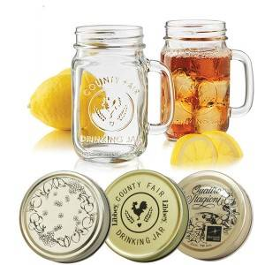 Glass mason jar with metal lid for beverage juice