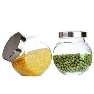 Glass storagr container with metal lid