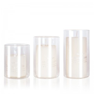 Factory glass candle jar glass storage jar with cork lid