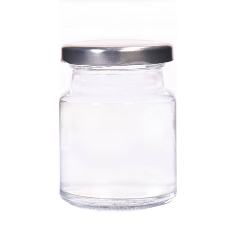 Glass Glass Jar Straight Sided with Metal Gold Lid Featured Image
