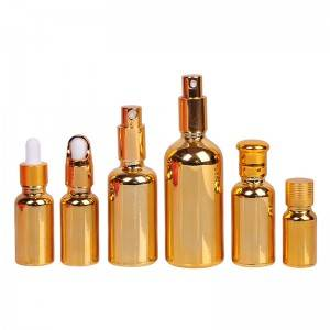 Golden Glass Bottles with Eye Droppers for Essential Oils