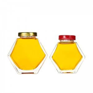 Hexagon glass honey jar with metal screw cap