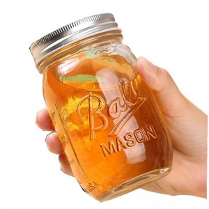 China Glass Compote Manufacturers - Unique 500ml glass carving dessert honey mason jar  – Sogood