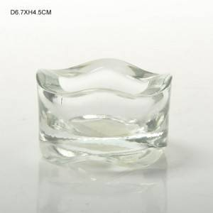 Thickened Wavy Clear Short Glass Candle Holder