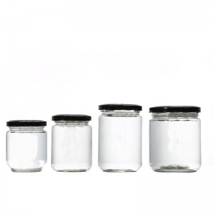 Glass honey food storage jars screw metal high lid