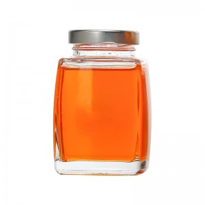 Wholesale clear round glass jam honey storage food jar with metal lid
