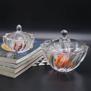 Glass threaded candy jar