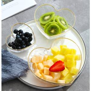 Heart-shaped glass salad bowls on sale