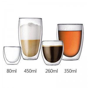 China Glass Tea Cup Suppliers - Double wall glass beverage water coffee cup glass mug  – Sogood