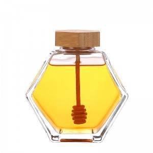 Glass Honey Jar with Wooden Dipper