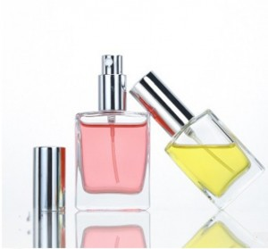 Factory clear empty square rectangle perfume glass spray bottle