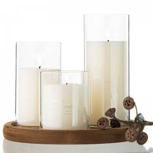 Round glass candle holders