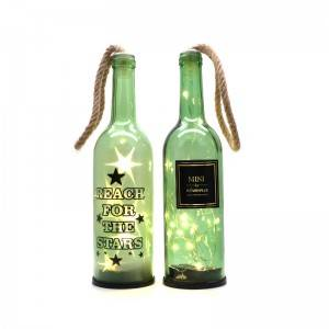 Clear decorative glass wine bottles that decorate lamps and lanterns for the festive atmosphere