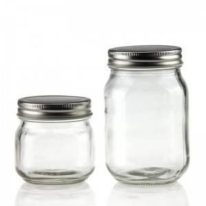 Glass Mason Jar with Silver Screw Cap