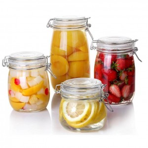 Airtight glass jars with card buckle lid