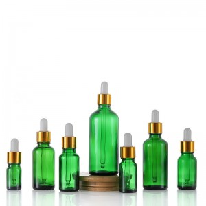 Cosmetic packaging green dropper bottle