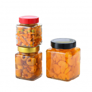 Square storage jar with lid