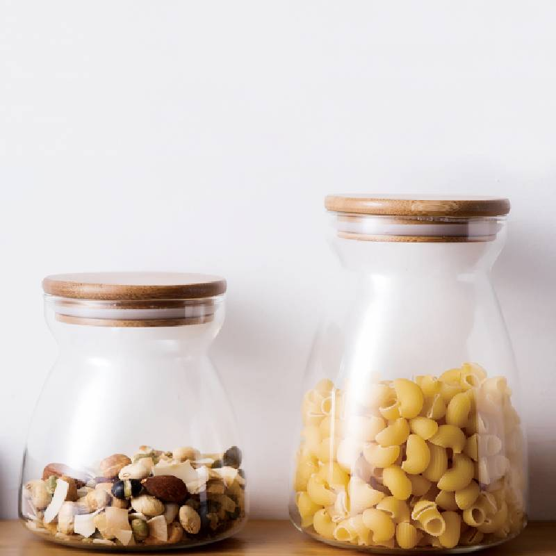 Wholesale Glass Nut Storage Jar Factory - Narrow Mouth Glass Storage Jars with Bamboo Lid – Sogood