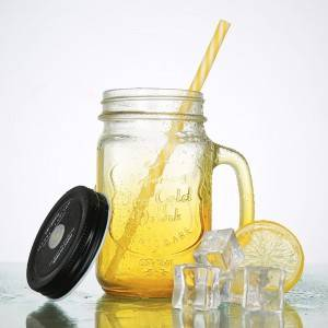Colourful Glass Mason Jar with Lid and Handle