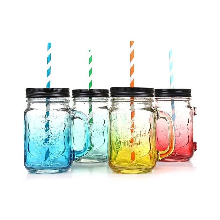 Colourful Glass Mason Jar with Lid and Handle Featured Image