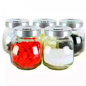 Flat Drum Shape Glass Storage Jar