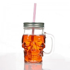 12oz Skull Shape Mason Jar Glass Cups With Handles with Lids and Straws