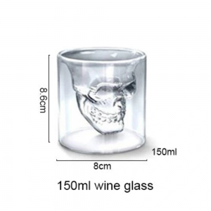 75ML 150ML 250ML Crystal Skulls Glasses Double Wall Glass Cup