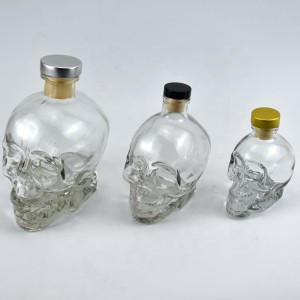 180ml  380ml 750ml skull head vodka whiskey shot home bar glass bottle