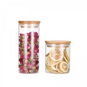 BPA Free High Borosilicate Glass Cookies Jar with Bamboo Lid