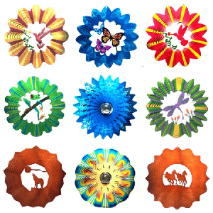Stainless steel Multi-colored  3D wind spinner