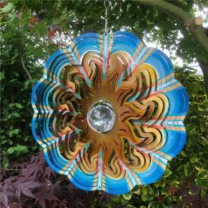 Multi-colored 3D crystal SUN wind spinner