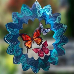Multi-colored 3D BUTTERFLY wind spinner