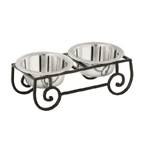 Stainless steel cute raised dog feeding bowl