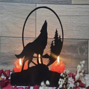 Decorative Wolf Metal Candle holder