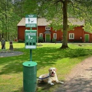 Dog poop bag dispenser metal pet waste station with sign board