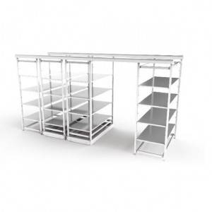 Rail-type storage shelf