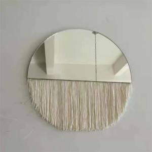 Hot New Products Metal Frame Mirror - Decorative handmade Half lunar Moon phase mirror with tassel Fringe for home wall hanging mirror – Shunda