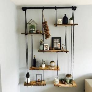 wood Hanging Shelf 3-Tier, Boho Rustic Wood Swing Storage Shelves, Lightweight Customizable Durable Rope Floating Organizer Rack, Floating Display Shelves for Bedroom Bathroom Kitchen