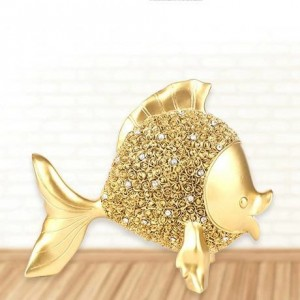 Kissing double goldfish resin or brass copper metal ornaments handicraft living room bedroom atmosphere contracted gold and silver fish decorations