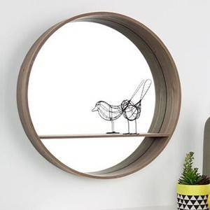 Decorative Wall Mounted round Moon mirror with shelf for home wall hanging