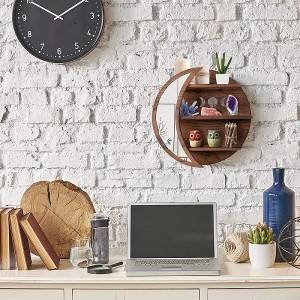 onWall Mounted Moon Shelf with mirror Wooden back Floating Shelves Hanging Storage Display Shelf Wall Decor for Living Room Bedroom