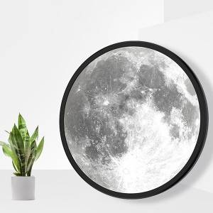 Led lunar Moon phase glass mirror for home wall hanging or table mirror lamp