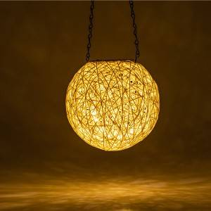 New style Solar-powered rattan balls decorate night lights for outdoor hanging