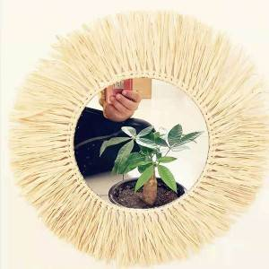 Bottom price Antique Half Moon Mirror - Decorative handmade raffia grass Half  lunar Moon phase glass mirror for home wall hanging mirror 	 – Shunda