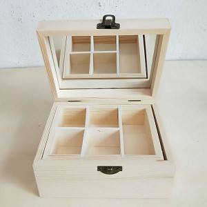 Rectangular square wooden gift packing box with  flip lid mirror removable compartment storage tray